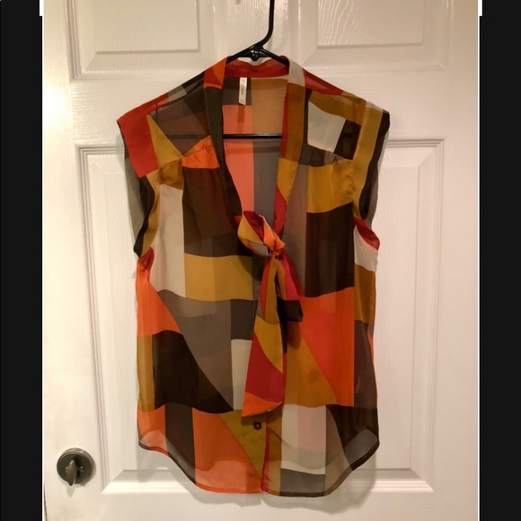 DNA Couture Sleeveless Tie Blouse Large